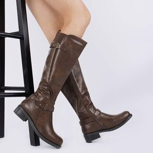 Brown Knee High Boots Heeled Boots